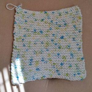 Other - Handknit White Cotton Washcloth